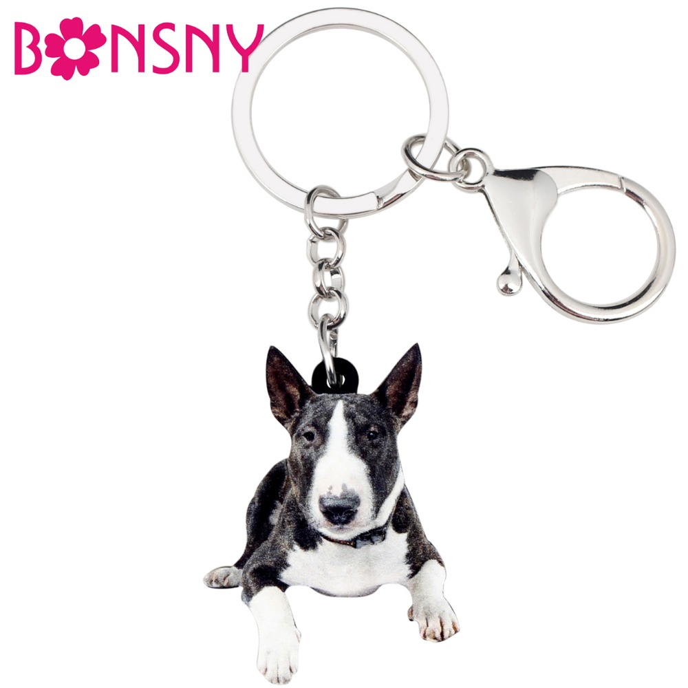 Bonsny Acrylic American Pit Bull Terrier Dog Key Chains Keychain Rings Cute Animal Jewelry For Women Girls Handbag Charms Bulk