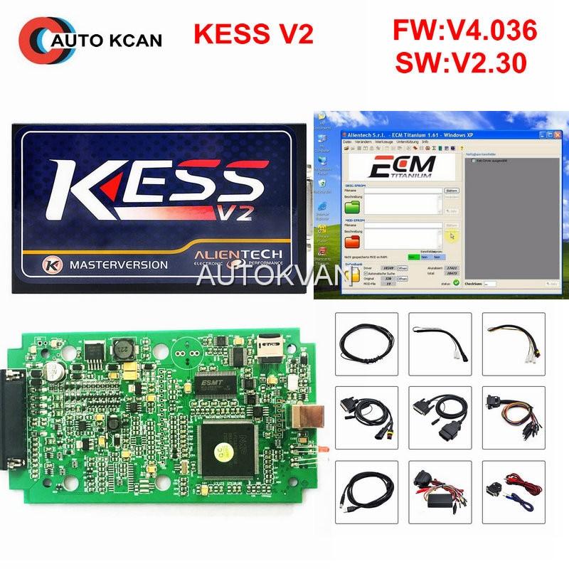 Цена за 2 шт. notoken ограничение KESS V2 OBD2 менеджер ЭКЮ чип-тюнинг комплект V2.31 программного обеспечения V4.036 оборудования KESS V2 мастер