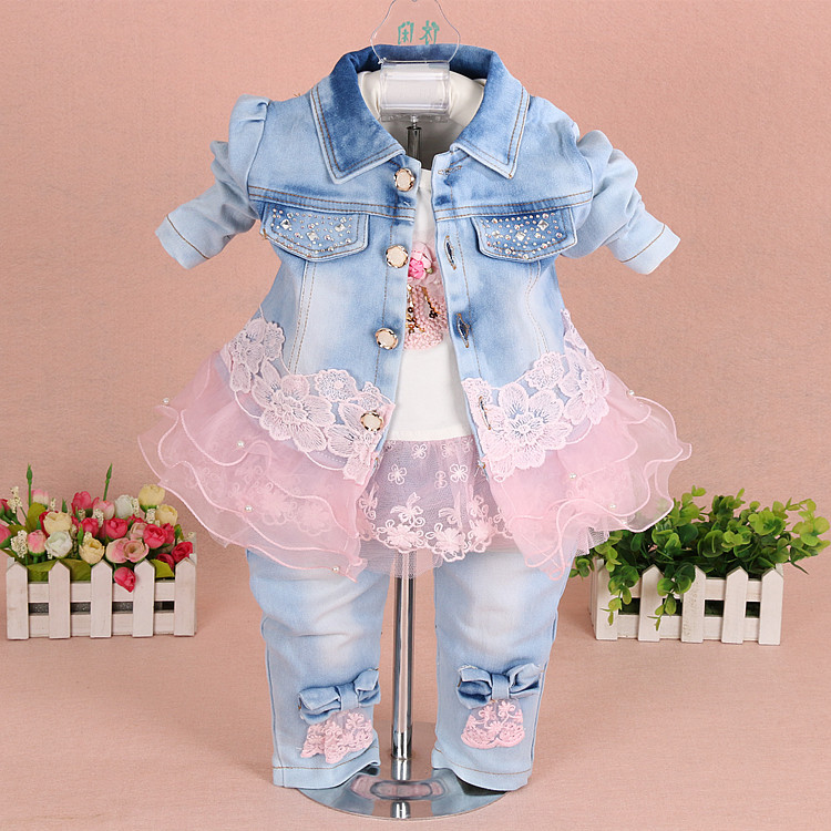 2017 spring baby girls clothing set 3 pcs/set denim jacket + T shirt +pants baby girl clothes princess baby kids clothes sets