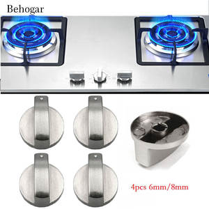 Behogar Cooker Knobs Oven-Switch Gas-Stove Surface-Control-Locks Adaptors 4pcs Silver