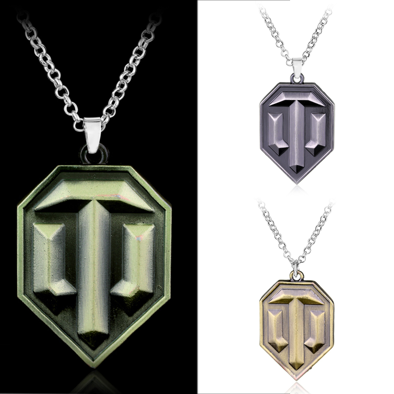 Dropshipping Hot Online Game Tank WOT World Warship Gaes Pendant Necklace For Men Tank Shield Chain Necklace Cool Game Fan Gift