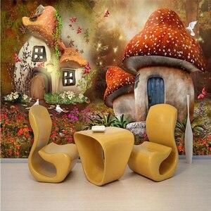 beibehang Custom Photo Wallpaper Mural Wall Sticker Fairy World Mushroom House Kids Room TV Background Wall papel de parede(China)