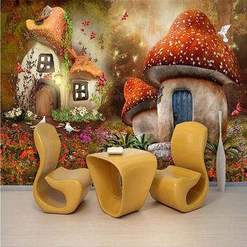 beibehang Custom Photo Wallpaper Mural Wall Sticker Fairy World Mushroom House Kids Room TV Background Wall papel de parede beibehang custom children room wall 3d wallpaper fairytale world mushroom house children s room tv background wall 3d wallpaper