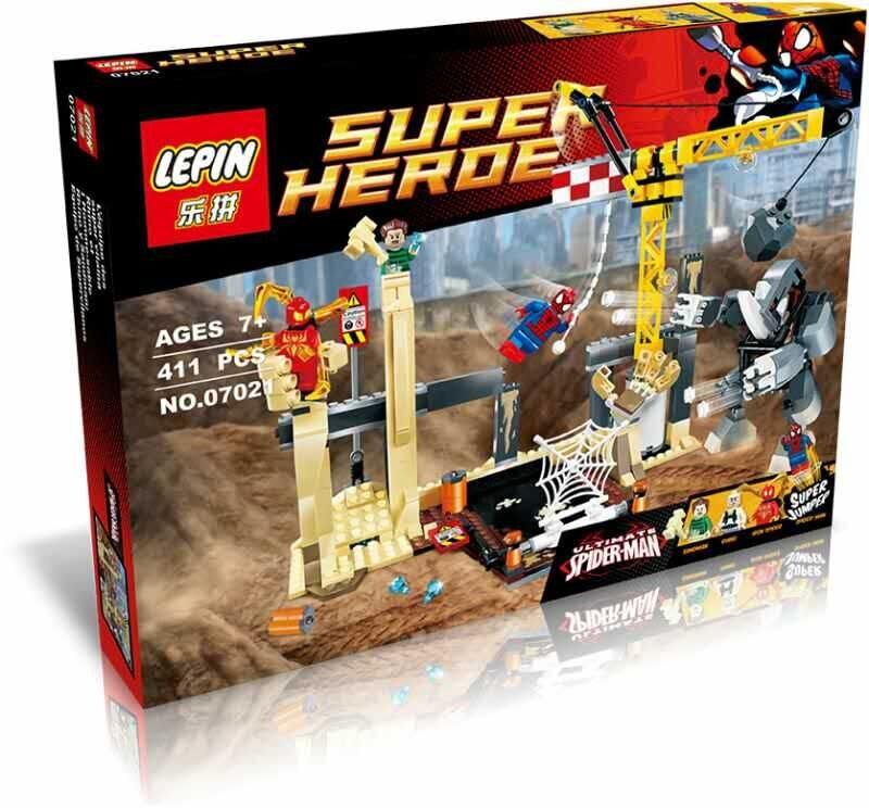 ФОТО 411pcs Rhino and Sandman Super Villain Team-up Spider-Man Iron Spider Superhero Set Building Lepin 76037 Blocks