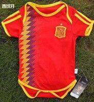 Newborn Baby Ropmer World Cup 2018 Short Sleeve Spain Argentina Russia Germany Belgium Football Team Shirt