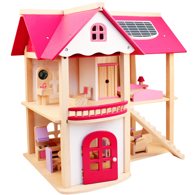 Children Large Wooden Assembly DIY Simulation Pink Villa House Girl Play House Pink Doll Room Toy for Girl цена