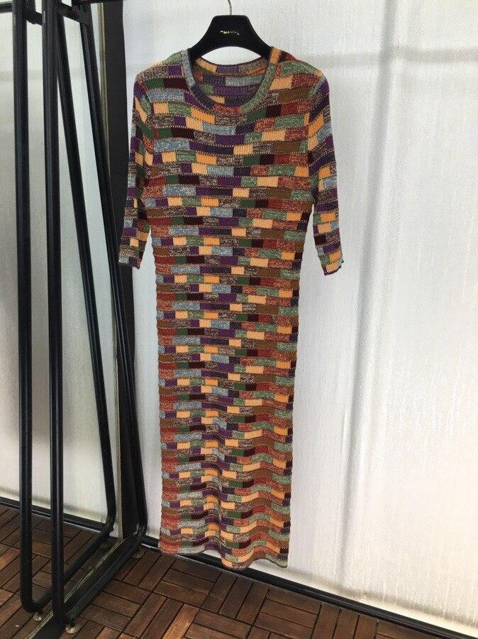2018 осень взлетно посадочной полосы Женская мода Дизайнеры Цвет ful проверяется шерсти, кашемировый вязаное платье длинные шею плед Цвет блок