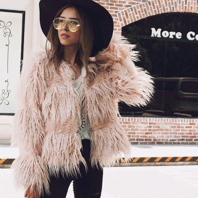 Aliexpress.com : Buy Women Pink Faux Fur Coat Fashion Tumblr 2017 ...