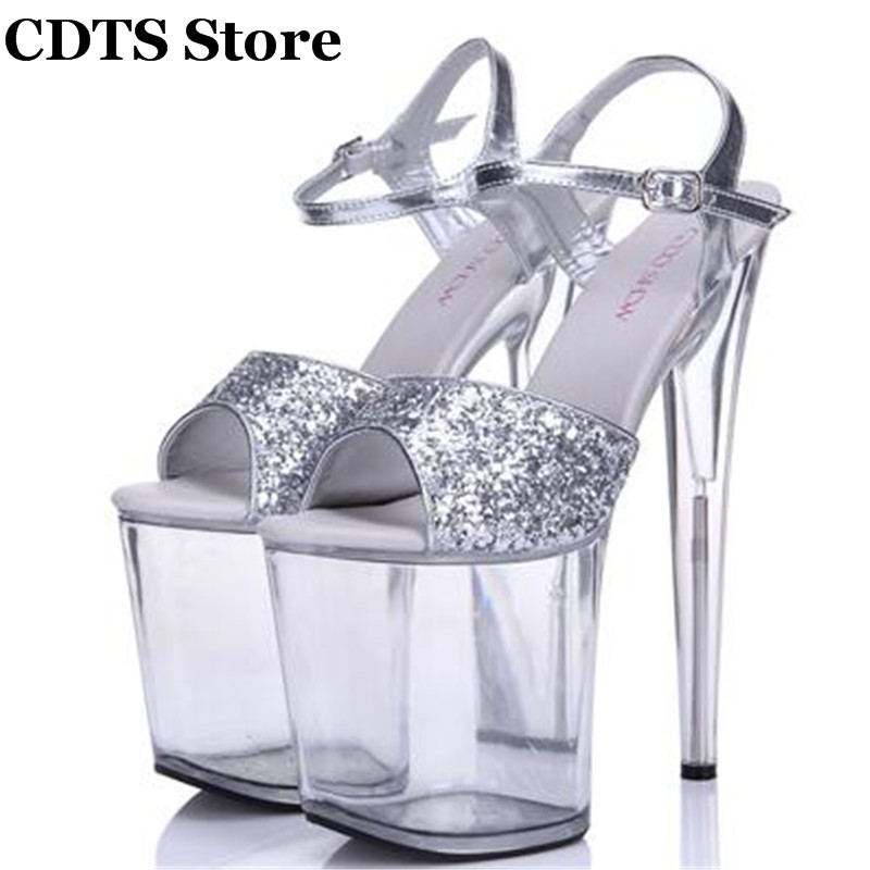 ФОТО CDTS zapatos Plus:35-44 Summer transparent platforms Crossdresser sequins Sandals 20cm Thin heels shoes woman Ankle Strap pumps