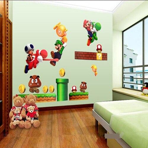 Super Mario Bros Cartoon Wall Sticker Home Decor For Kids Room Baby Bedroom Mario  Stickers Murale Stickers Reine Des Neiges In Wall Stickers From Home ... Part 40