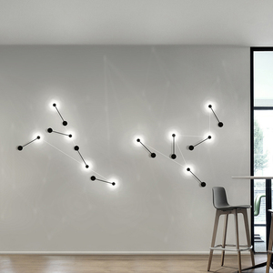 Luminaires d'éclairage muraux pour salle de bain, Lron moderne bricolage lampe murale blanche/noire lampe murale pour salon TV Luminaire mural