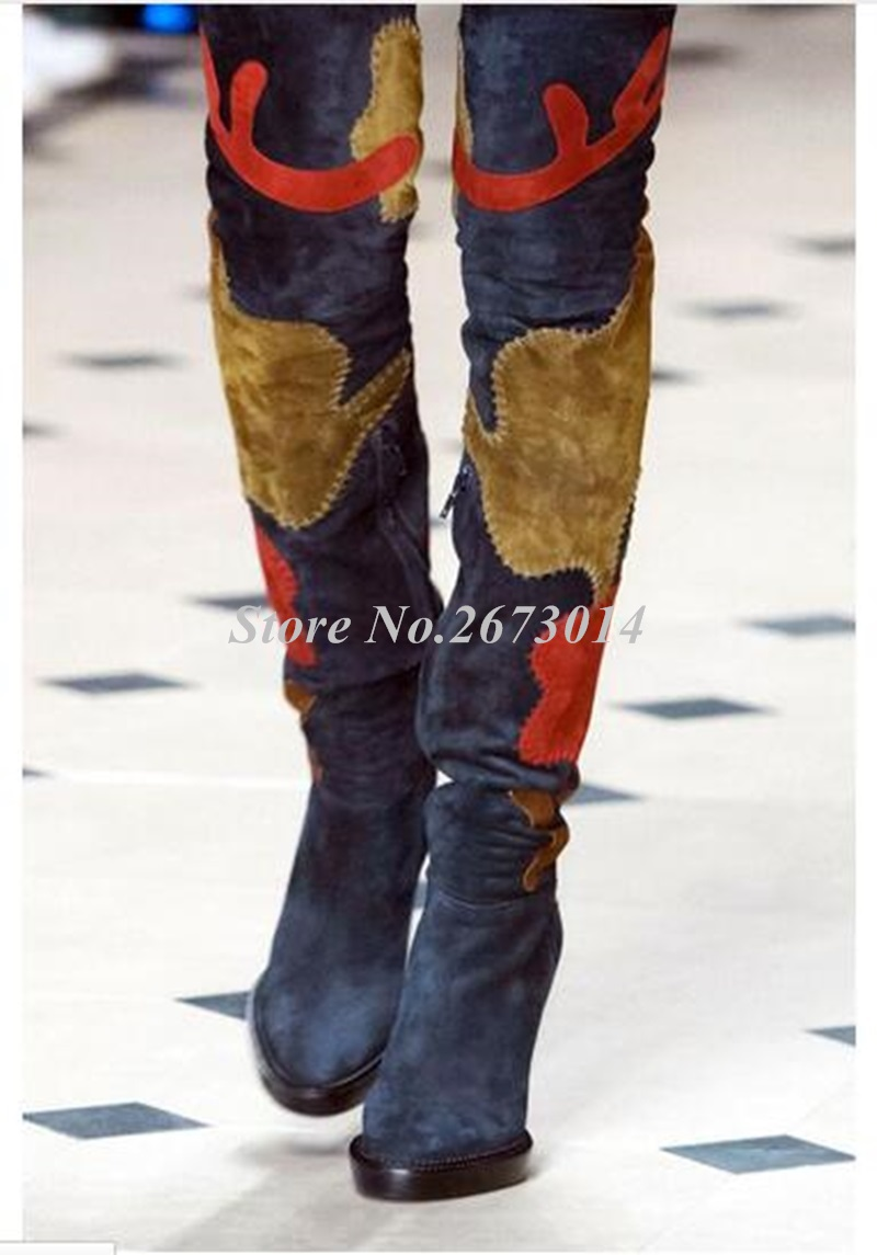 2019-European-Style-Winter-New-Arrival-Women-Boots-Floral-Patchwork-Over-the-Knee-Boots-Suede-Leather