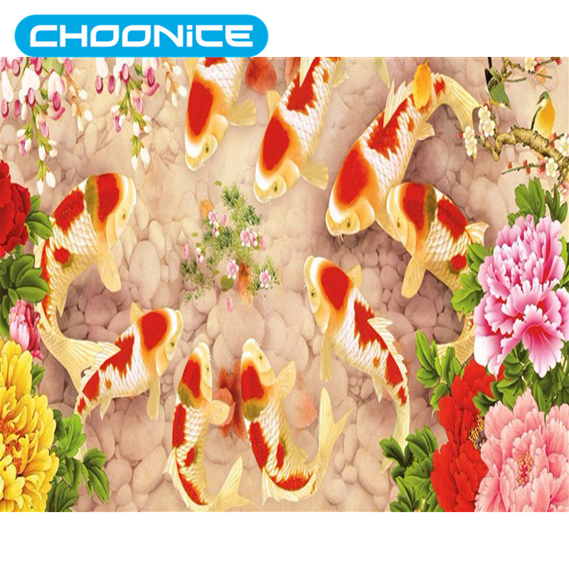 Koi Painting Diamond Painting River Water goldfish Blessing Fish DIY 3D Diamond Embroidery Pokemon For Needlework Mosaic Picture