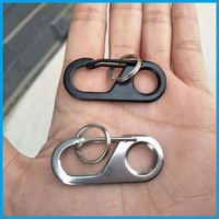 2Pcs/lot EDC high quality Camp Snap Safety Hook 440 Stainless Steel Carabiner Key chain Hiking camping Key Ring outdoor tool