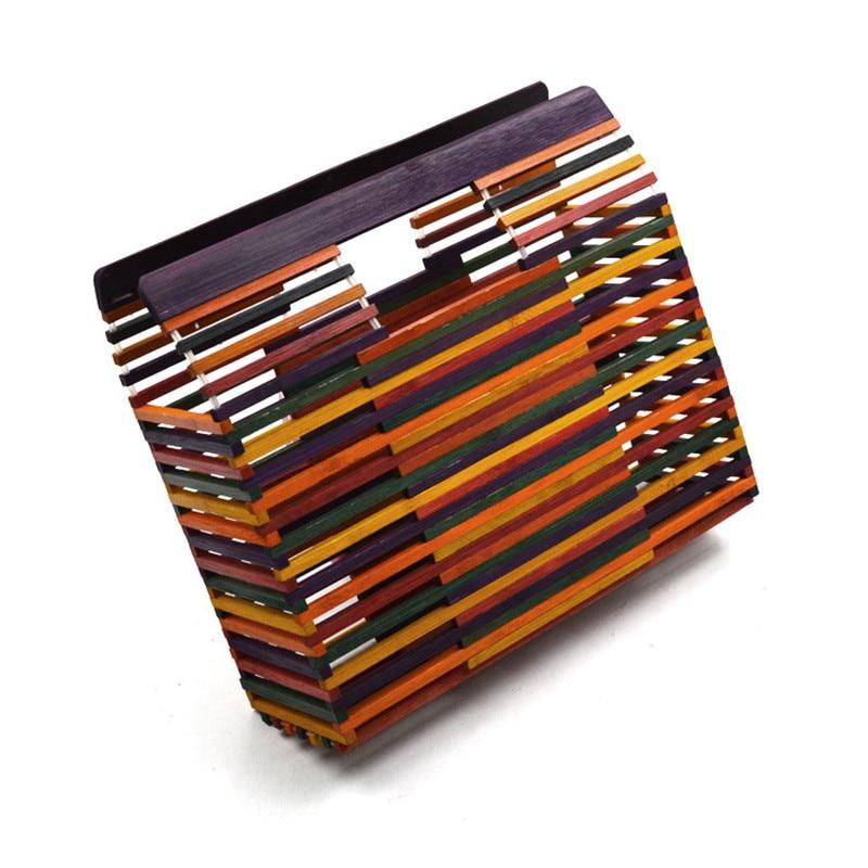Designer Women's Handbags Rainbow Bamboo Fiber Hand Woven Bag Stitching Hollow Bag Clutch Beach Holiday Women Bamboo Bag Handbag
