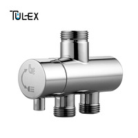 TULEX Shower Faucet Diverter 3 Way Shower Arm Diverter 2 Functions Faucet Valve for Shower Mixer Brass Body Chrome Plated