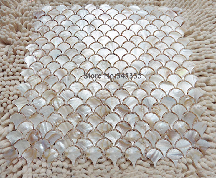 11pcs natural fish scale fan shape shell mosaic tile mother of pearl wallpaper kitchen backsplash shower bathroom wall tilesin wallpapers from home