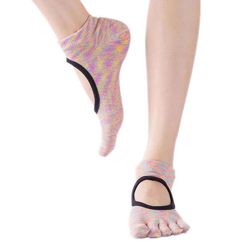 Women Five Finger Yoga Socks Solid Floor Breathable Anti-slip Fitness Socks Cotton Ankle Toe Female Five-finger Socks