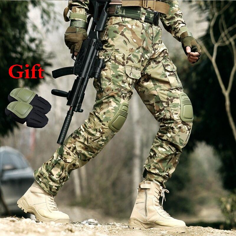 Pantalon tactique militaire pour hommes pantalon d'entraînement de Combat militaire avec genouillères chasse en plein air pantalon de Camouflage CPU pantalons de randonnée sportive