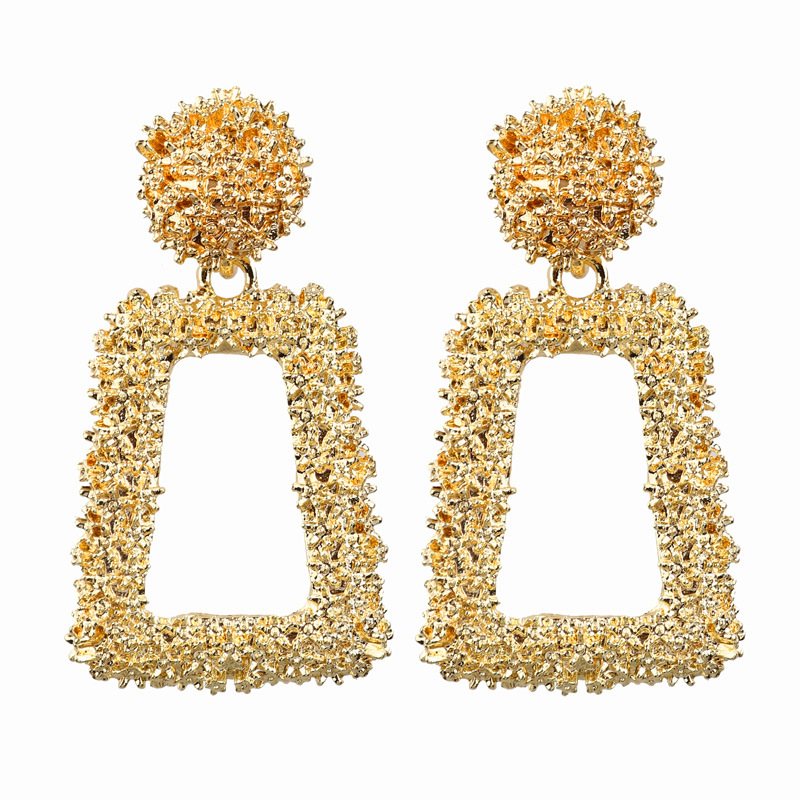 LUSION Small Size Vintage Earring Women Gold Color Geometric Statement Earring Metal Silver Earing Hanging Fashion Jewelry Trend