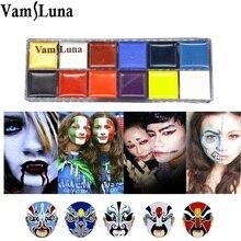 12 farbe Gesicht Körper Malen für Halloween Make-Up wasserdichte Ölgemälde Kunst Party Phantasie Kleid Kit
