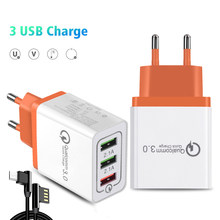 18W 3 USB Charger Mobile Phone Charge Quick 3.0 EU Plug Fast Charging Wall Charger Adapter for Samsung S8/S8+ Xiaomi A1 Android(China)