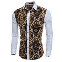2016 Large Vintage Floral Prints Mens Dress Shirts Long Sleeve Slim Fit Casual Social Camisas Masculinas