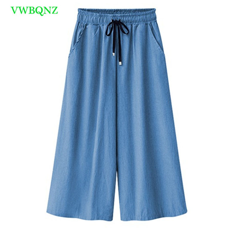 5faf4ca884ca5 Plus size Denim Wide leg Pants Women Summer Thin section Cropped Pants  Womens Loose Casual skirt
