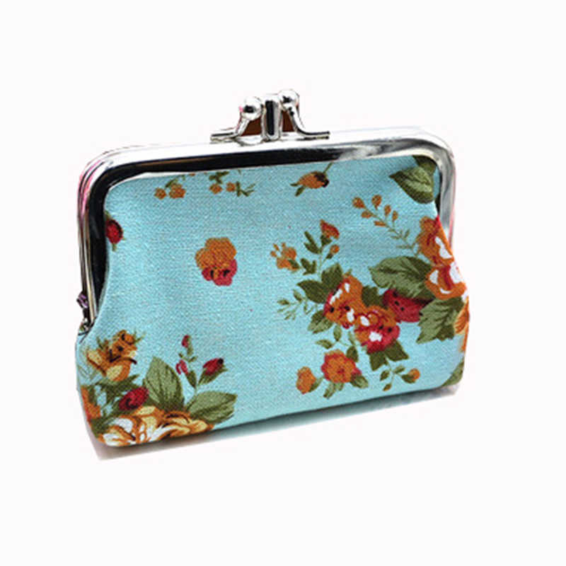 Vintage Coin Purses Kids Rose Flower Women Purse Double Printing Canvas Lady Small Card Holder Design Female Coin Purse
