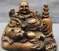 China Bronze Copper Wealth Yuanbao Tiger Ruyi Happy Laugh Maitreya Buddha Statue L9 inch