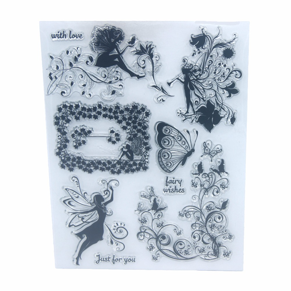 Flower Fairy Angels Transparent Clear Silicone Stamp/Seal for DIY Scrapbooking/photo Album Decorative Sheets Butterfly Lace lovely animals and ballon design transparent clear silicone stamp for diy scrapbooking photo album clear stamp cl 278