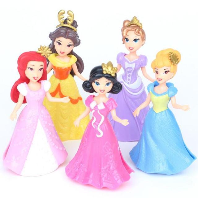 5 шт./компл. Принцесса Белоснежка Бель Золушка Аниме ПВХ фигура набор с Магия клип платье детские игрушки Игрушечные лошадки для Обувь для девочек