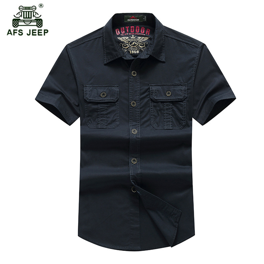 AFS JEEP Militaire Solide de Chemise Hommes 2018 New Summer Hommes Manches Courtes Chemises Coton Respirant Chemise Lâche Chemise de L'armée h60