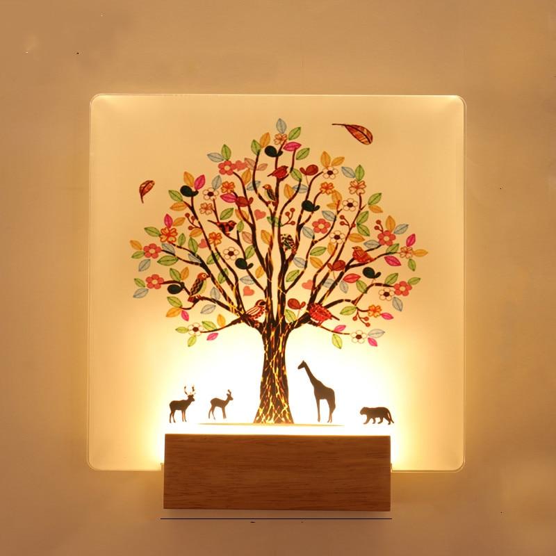 купить Bedside Bedroom Simple Modern Creative Wall Lamp Living Room Solid Wood Lamp Stairs Aisle Nordic Fresco Modern Wall Light по цене 2421.95 рублей