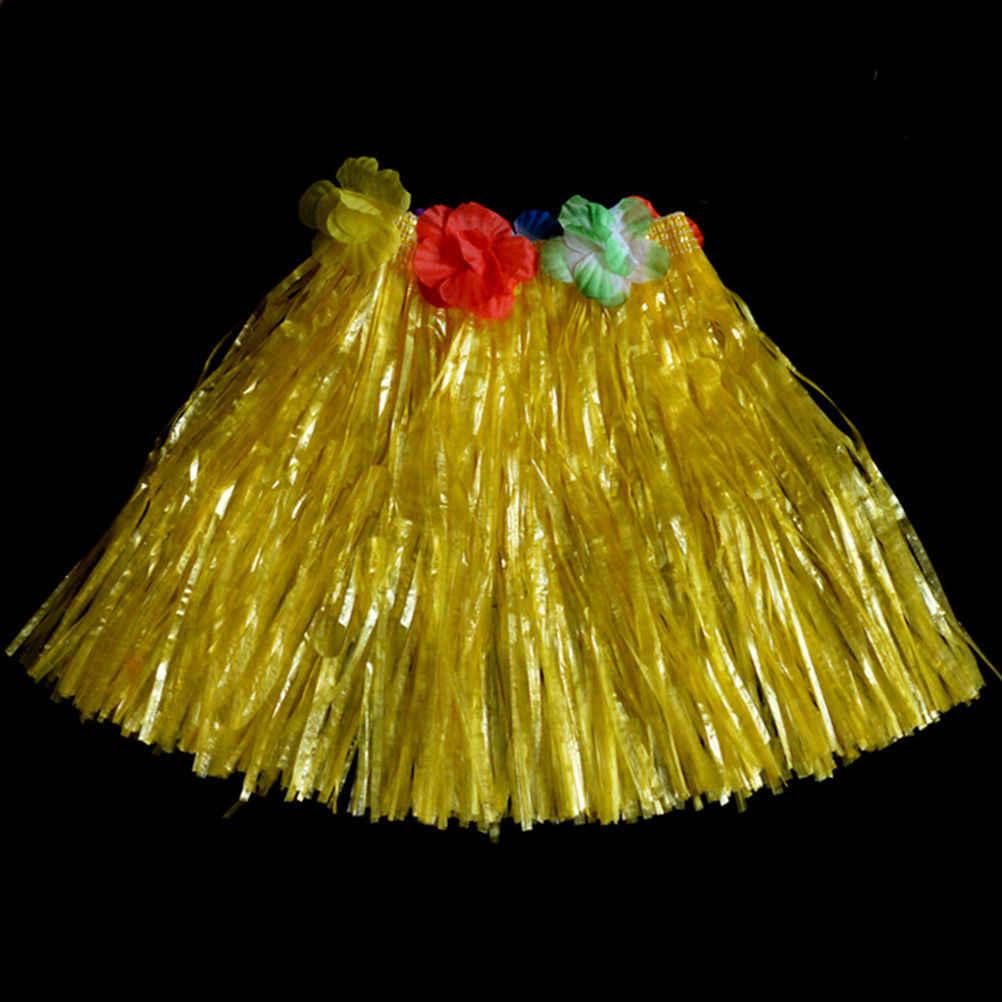 10 màu sắc 30 CM Cô Gái Ăn Mặc Lên Hula Váy Nguồn Cung Cấp Bên Nhựa Sợi Váy Cỏ Hula Váy Trang Phục Hawaii App.40 -70 CM