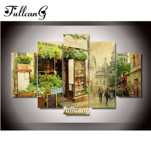 FULLCANG diy 5 pcs diamond painting flower shop full square embroidery pattern 5D mosaic cross stitch F1096