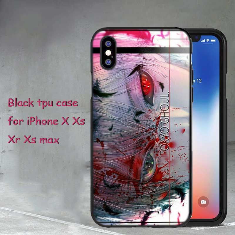 For iPhone XS X XR Max 8 7 6 6S Plus 5 5S SE Black Soft Silicone Phone Case Anime Tokyo Ghouls Style in Fitted Cases from Cellphones Telecommunications