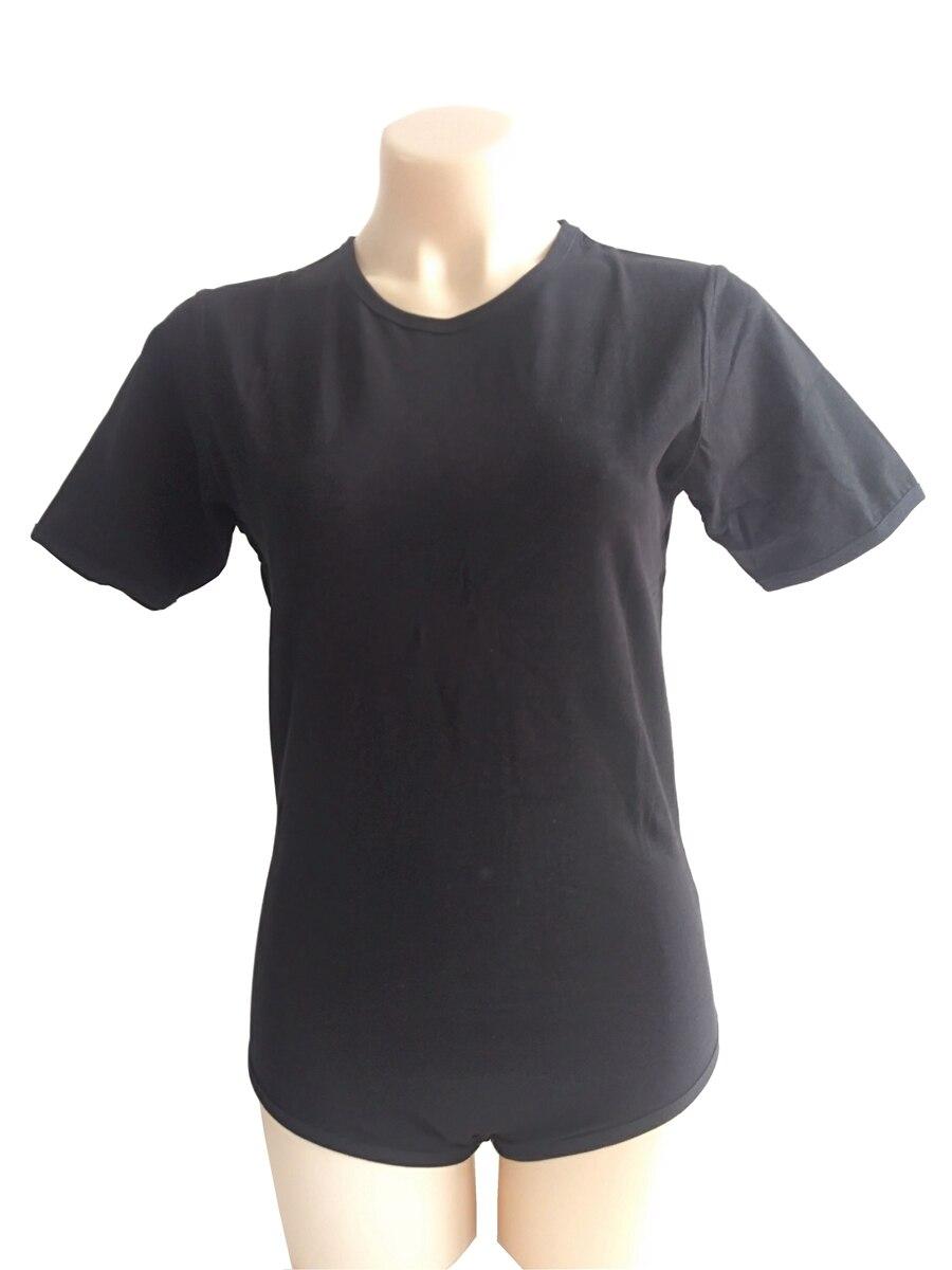 Short Sleeve Plain T-Shirt Black Adult Romper Bodysuit anonymous list