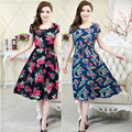 2016 Women clothing vestidos medium-long casual dress short-sleeve o-neck loose vestido plus size female summer style dresses
