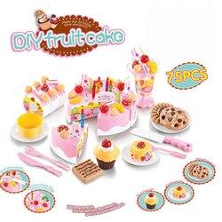 Abbyfrank 75 Pcs Brinquedos Pretend Play Corte Do Bolo De Aniversário Brinquedo Comida Louça de Cozinha Cocina De Juguete Brincando com Comida de Plástico Chá conjunto