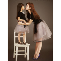 Matching Mother And Daughter Clothes New 2016 Summer Cotton Mesh Bow T Shirt And Skirt Set