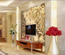 Customized wallpaper mural Chinese style 3D natural scenery with jade carving behind sofa as background in living room