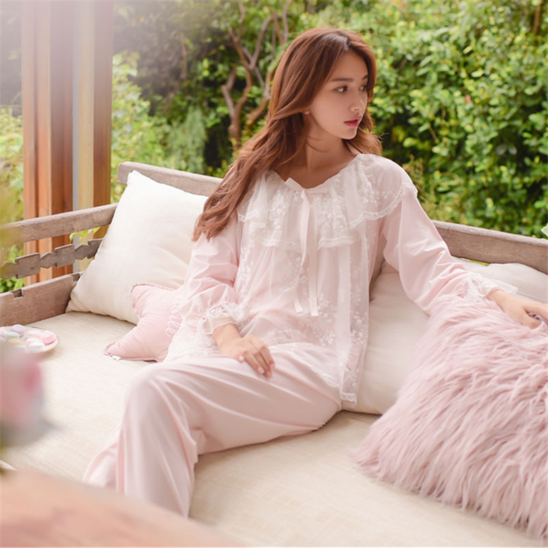 904677e7581 Lace Pajama Sets 2018 Long Sleeve Sleepwear Sexy Women Comfortable Home  Wear Vintage Indoor Clothing Pyjamas For Women  L133-in Pajama Sets from  Underwear ...