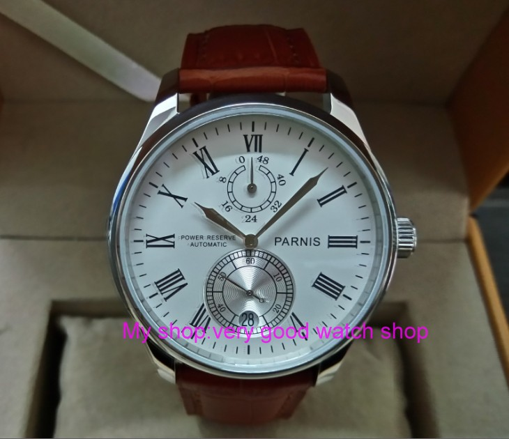 PARNIS 43mm white dial Automatic Self-Wind movement power reserve men