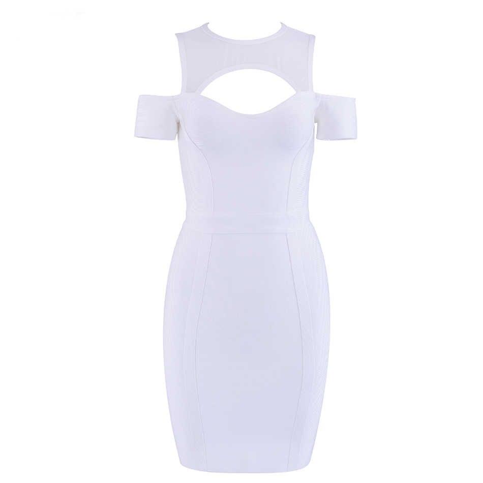 נשים של קיץ תחבושת שמלת 2018 סקסי לבן קצר שרוול Bodycon תחרה Vestidos באורך הברך סלבריטאים מפלגה שמלה
