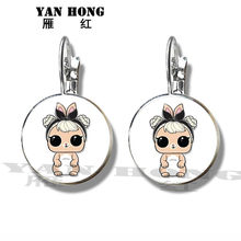 Lovely cartoon doll earrings earrings Pet Cat Earrings dog glass pendant children's jewelry best gift(China)