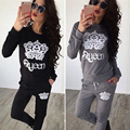 2016 Autumn/ Winter Hoodies Sets For Women Casual Tracksuit Pants Two Piece Set Queen Crown Ensemble Femme Gray Black