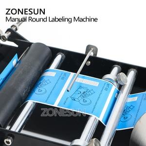 Image 2 - ZONESUN ידנית עגולה בקבוק תיוג מכונת בירה פחיות יין דבק מדבקת מתייג תווית Dispenser מכונת אריזה מכונה