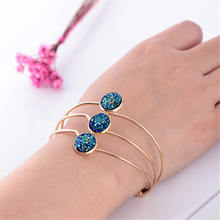 2019 Hot Sale Fashion 3 Strip Multilayer Opal Metal Cuff Bracelets for Women Shiny Sequin Bracelet Opening Bangles Jewelry Gifts(China)