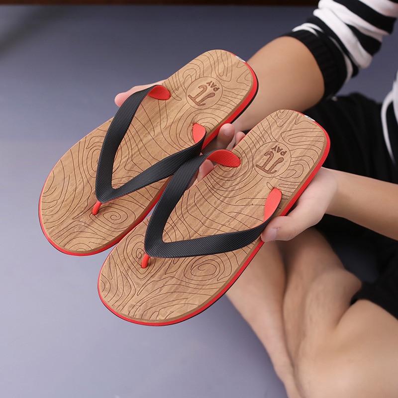 Popular Brand 2019 New Mens Shoes Flip Flops Mens Rubber Bottom Mens Non-slip Feet Feet Slippers Wood Wear Beach Slippers Men's Shoes